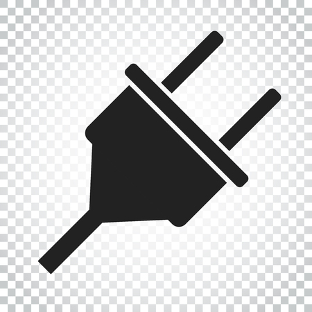 Plug vector icon. Power wire cable flat illustration. Simple business concept pictogram on isolated background. Иллюстрация