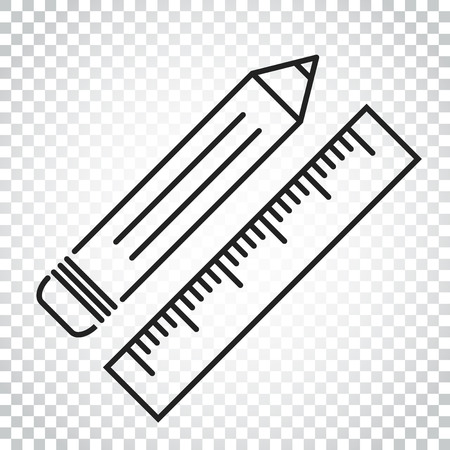 Pencil with ruler icon. Ruler meter vector illustration. Simple business concept pictogram on isolated background.