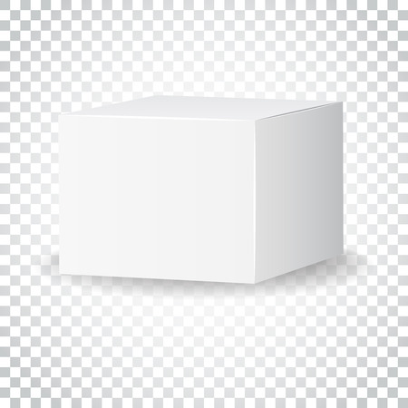 Blank white carton 3d box icon. Box package mockup vector illustration. Simple business concept pictogram on isolated background.