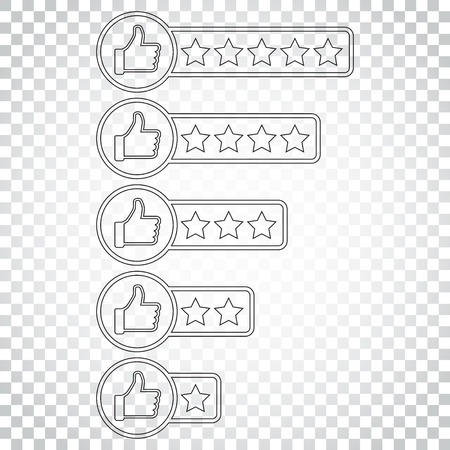 Customer review icon. Thumb up with stars rating vector illustration. Simple business concept pictogram on isolated background.