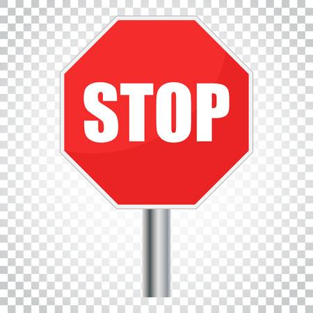 赤の停止記号のベクター アイコン。危険シンボル ベクトル イラスト。孤立した背景に単純なビジネス概念ピクトグラム。  イラスト・ベクター素材