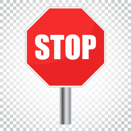 Red stop sign vector icon. Danger symbol vector illustration. Simple business concept pictogram on isolated background.