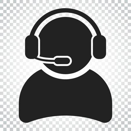 マイクのベクトルのアイコンを持つオペレーター。コール センターの図中の演算子。孤立した背景に単純なビジネス概念ピクトグラム。  イラスト・ベクター素材