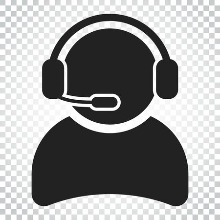 Operator with microphone vector icon. Operator in call center illustration. Simple business concept pictogram on isolated background.