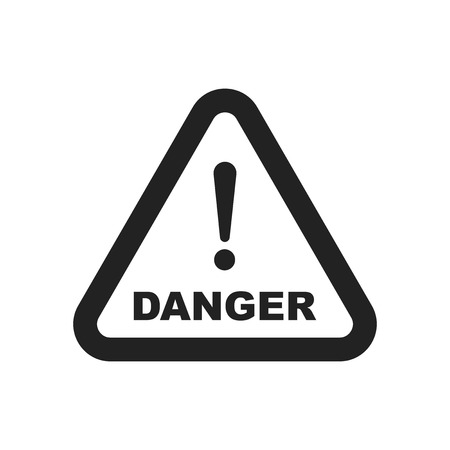dangerous construction: Danger sign vector icon. Attention caution illustration. Business concept simple flat pictogram on white background.