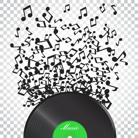 Vinyl disk with flying sound note. Music disk vector illustration. Sound record. Business concept simple flat pictogram on isolated background.