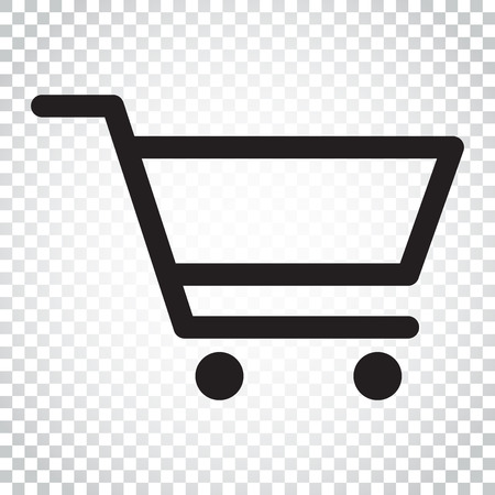 Shopping cart vector icon. Flat illustration. Business concept simple flat pictogram on isolated background.