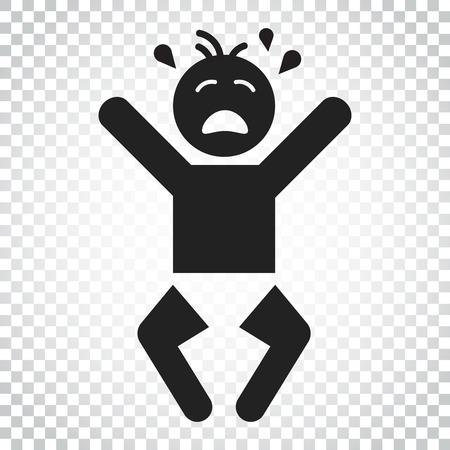 泣いている赤ちゃんのベクター アイコン。怒りの感情子平図。ビジネス コンセプト シンプルなフラットのピクトグラム孤立の背景上の。  イラスト・ベクター素材