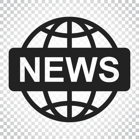 Wereld nieuws platte vector pictogram. Nieuws symbool logo illustratie. Bedrijfsconcepten eenvoudig vlak pictogram op geïsoleerde achtergrond.