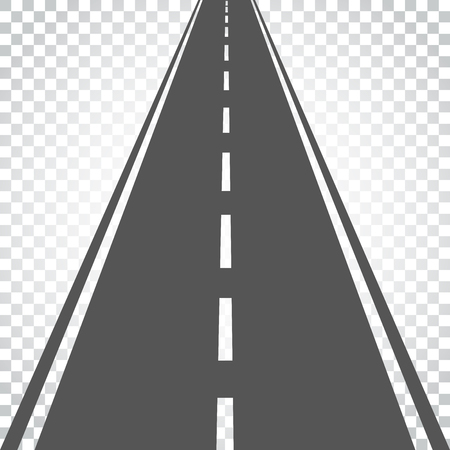 Straight road with white markings vector illustration. Highway road icon. Business concept simple flat pictogram on isolated background.