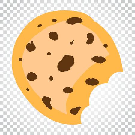 Cookie flat vector icon. Chip biscuit illustration. Dessert food pictogram. Business concept simple flat pictogram on isolated background. Ilustração