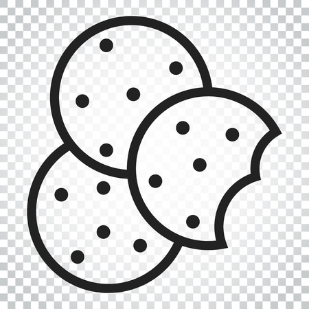 Cookie flat vector icon. Chip biscuit illustration. Dessert food pictogram. Business concept simple flat pictogram on isolated background. Illustration