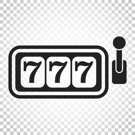 Casino slot machine flat vector icon. 777 jackpot illustration pictogram. Business concept simple flat pictogram on isolated background.