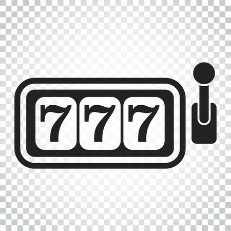 Casino slot machine flat vector icon. 777 jackpot illustration pictogram. Business concept simple flat pictogram on isolated background.