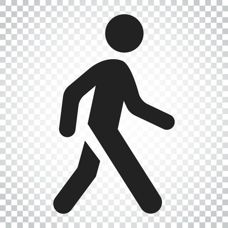 Walking man vector icon. People walk sign illustration. Business concept simple flat pictogram on isolated background.