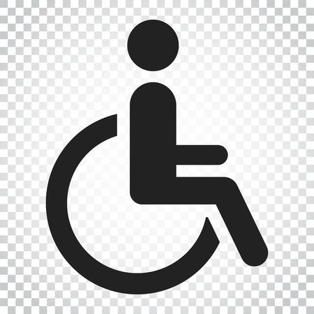Man in rolstoel vector pictogram. Gehandicapte ongeldige mensen ondertekenen illustratie. Bedrijfsconcepten eenvoudig vlak pictogram op geïsoleerde achtergrond.
