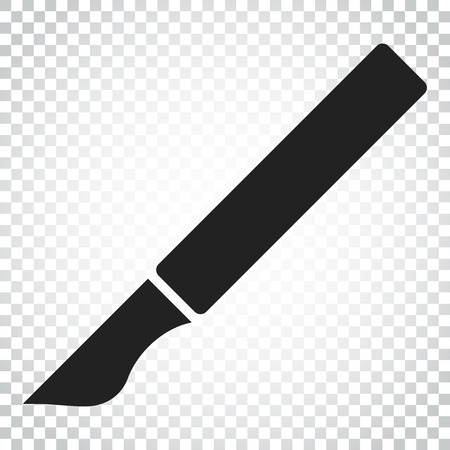 Medical scalpel vector icon. Hospital surgery knife sign illustration. Business concept simple flat pictogram on isolated background.