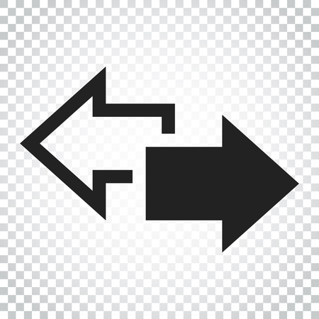 Arrow left and right vector icon. Forward arrow sign illustration. Business concept. Business concept simple flat pictogram on isolated background. 矢量图像