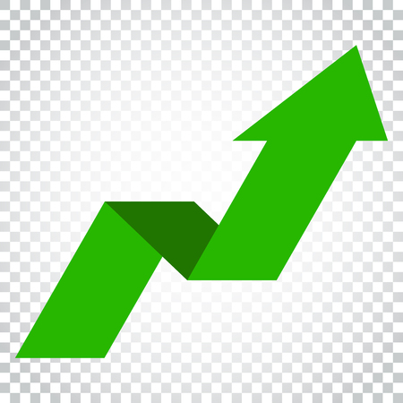 downgrade: Arrow growing graph vector icon. Progress arrow grow sign illustration. Business concept simple flat pictogram on isolated background.