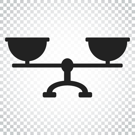weigher: Scale weigher vector icon. Weigher, balance sign illustration. Business concept simple flat pictogram on isolated background.