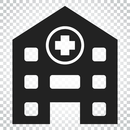 Hospital building vector icon. Infirmary medical clinic sign illustration. Business concept simple flat pictogram on isolated background. Illustration