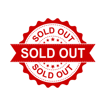 Sold out grunge rubber stamp. Vector illustration on white background. Business concept sold stamp pictogram.