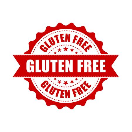 Gluten free grunge rubber stamp. Vector illustration on white background. Business concept no gluten healthy stamp pictogram.