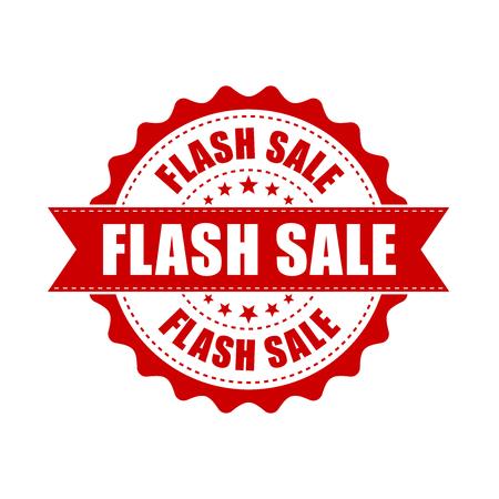 Flash sale grunge rubber stamp. Vector illustration on white background. Business concept sale discount stamp pictogram. Illustration
