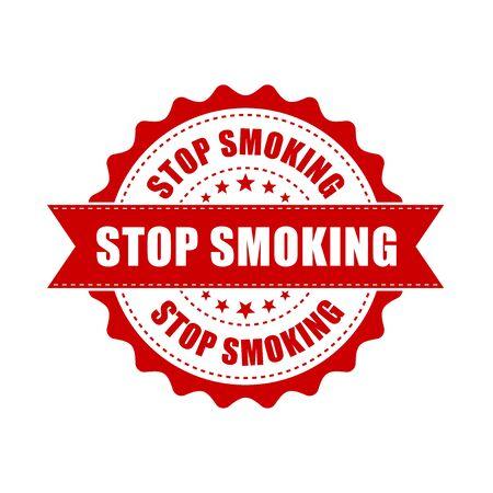 Stop smoking grunge rubber stamp. Vector illustration on white background. Business concept no smoke stamp pictogram. Illustration