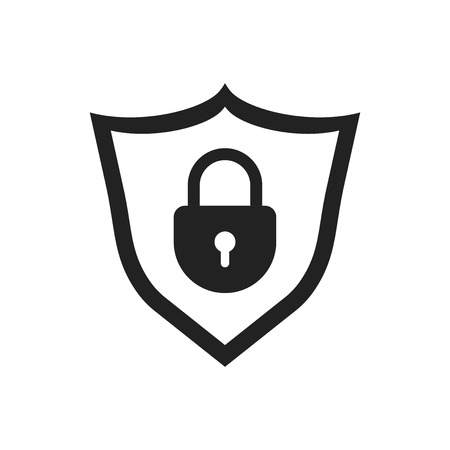 Lock with shield security icon. Vector illustration on white background. Business concept padlock pictogram. Illusztráció