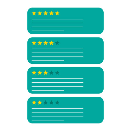 Review feedback rating bubble with star icon. Vector illustration on white background. Business concept customer rate pictogram.