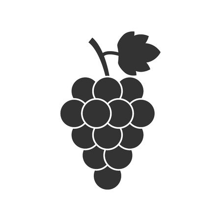 concord: Grape fruit with leaf icon. Vector illustration on white background. Business concept Bunch of wine grapevine pictogram.