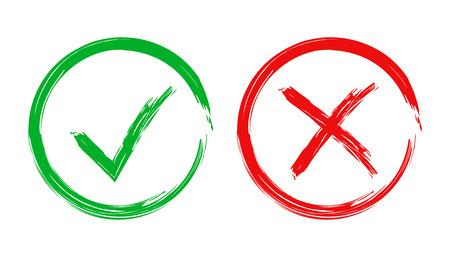 Segno di spunta e icona croce. Illustrazione vettoriale su sfondo bianco. Concetto di business sì e nessun segno di spunta pittogramma.