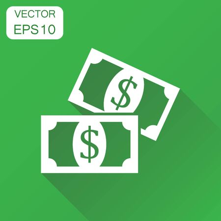 money packs: Money dollar icon. Business concept money coins pictogram. Vector illustration on green background with long shadow.