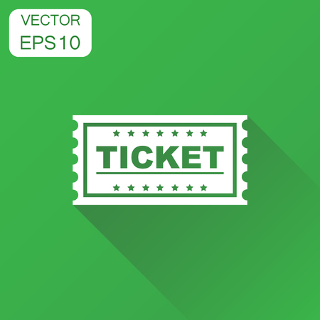 Ticket cinema icon. Business concept admit one ticket pictogram. Vector illustration on green background with long shadow.