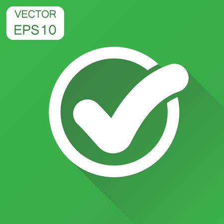 Check mark icon. Business concept tick, yes, ok, accept pictogram. Vector illustration on green background with long shadow. Illustration