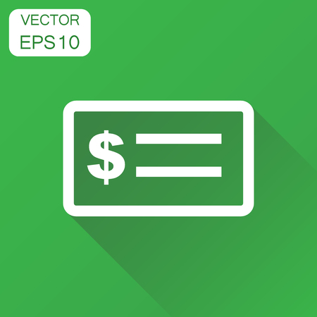 Check money icon. Business concept banking checkbook pictogram. Vector illustration on green background with long shadow.