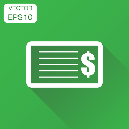 Check money icon. Business concept banking checkbook pictogram. Vector illustration on green background with long shadow. Stock Vector - 83821084