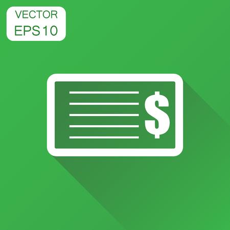 Compruebe el icono de dinero. Pictograma de cheque bancario de concepto empresarial. Ilustración de vector sobre fondo verde con una larga sombra. Foto de archivo - 83821084