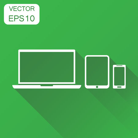 touchpad: Device gadget icon. Business concept computer, laptop, smartphone pictogram. Vector illustration on green background with long shadow.