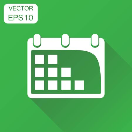 Calendar agenda icon. Business concept calendar date pictogram. Vector illustration on green background with long shadow.