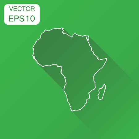 kenya: Africa linear map icon. Business cartography concept outline Africa pictogram. Vector illustration on green background with long shadow. Illustration