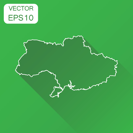 Ukraine map icon. Business cartography concept outline Ukraine pictogram. Vector illustration on green background with long shadow.
