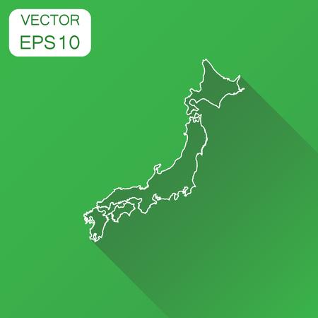 日本地図アイコン。ビジネス地図作成コンセプト概要日本ピクトグラム。長い影と緑の背景のベクトル図。  イラスト・ベクター素材