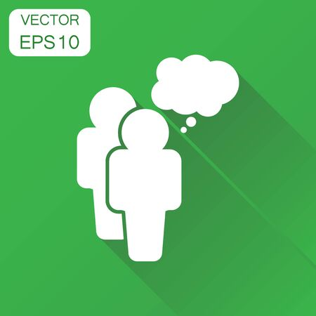 People with speech bubble icon. Business concept people pictogram. Vector illustration on green background with long shadow.