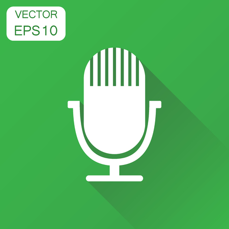 Microphone icon. Business concept microphone pictogram. Vector illustration on green background with long shadow.