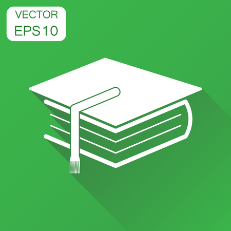 Education book icon. Business concept book pictogram. Vector illustration on green background with long shadow.