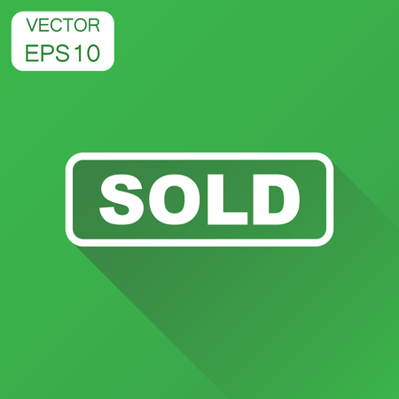 Sold seal stamp icon. Business concept sold pictogram. Vector illustration on green background with long shadow. Illusztráció