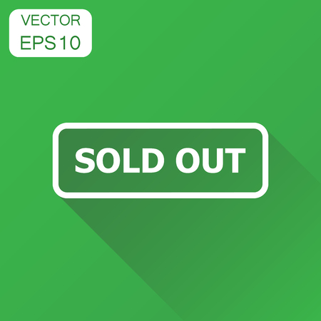 Sold out seal stamp icon. Business concept sold pictogram. Vector illustration on green background with long shadow.