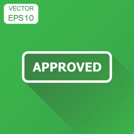 Approved seal stamp icon. Business concept approved pictogram. Vector illustration on green background with long shadow.